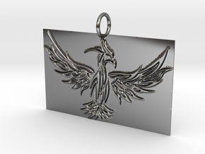 Square Phoenix Pendant in Fine Detail Polished Silver