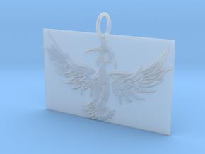 Square Phoenix Pendant in Smooth Fine Detail Plastic
