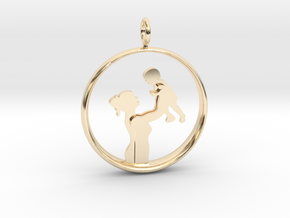Mother & Son Pendant 1 -Motherhood Collection in 14k Gold Plated Brass