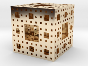 Menger Sponge in 14K Yellow Gold