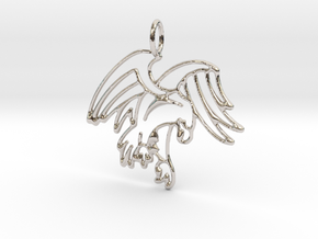Tribal Eagle Pendant in Rhodium Plated Brass