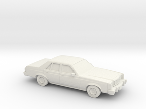 1/87 1975-77 Ford Granada Sedan in White Natural Versatile Plastic