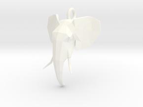 Elephant Head in White Processed Versatile Plastic
