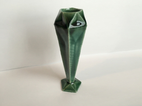 5 Sided Geometric Candle Stick in Gloss Oribe Green Porcelain