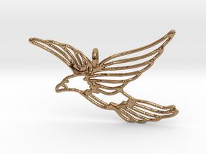 Flying Bird Pendant in Polished Brass