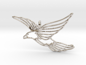 Flying Bird Pendant in Rhodium Plated Brass