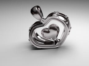 Heart in the Heart pendant v.2 in Fine Detail Polished Silver