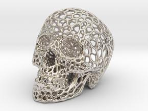 Human skull skeleton perforated sculpture in Platinum