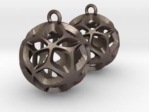 Orion-earrings in Polished Bronzed Silver Steel