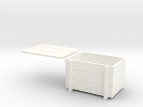 Wooden Crate With Lid 1/32 in White Processed Versatile Plastic