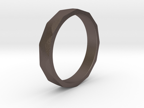 Iron Ring Size 6 in Polished Bronzed Silver Steel