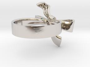 Ribbon Ring in Rhodium Plated Brass: 5 / 49
