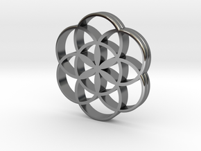 Flower of Life is the source of the universe in Fine Detail Polished Silver