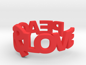 Peace&Love ring Size7 in Red Processed Versatile Plastic