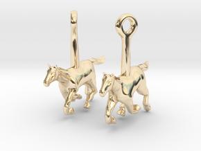 Horse (without Jockey) Earrings in 14K Yellow Gold
