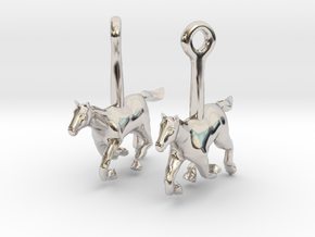 Horse (without Jockey) Earrings in Platinum