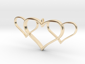 3 Heart Pendant in 14k Gold Plated Brass