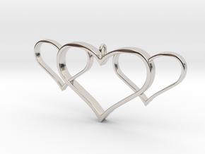 3 Heart Pendant in Rhodium Plated Brass