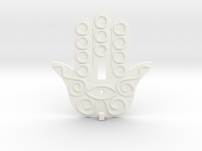 Hamsa Switch Plate with Key Hanger  - Xansibar Des in White Strong & Flexible Polished