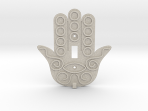 Hamsa Switch Plate with Key Hanger  - Xansibar Des in Natural Sandstone