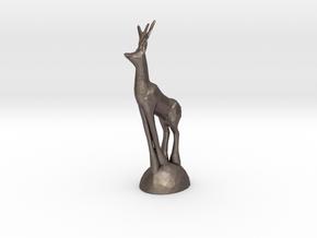 Christmas Deer in Polished Bronzed Silver Steel
