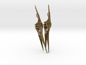 Pteranodon Skull Earring Pair in Natural Bronze