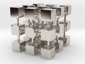 Cubes among cube in Rhodium Plated