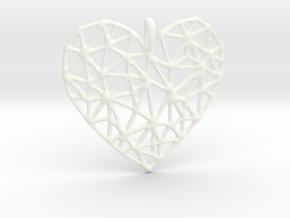 Triangular Geometric Grid Heart Pendant in White Processed Versatile Plastic