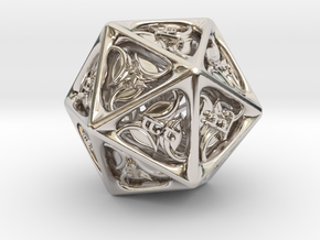 Tengwar Elvish D20 in Rhodium Plated Brass: Small