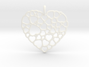 Heart of Hearts Pendant in White Processed Versatile Plastic