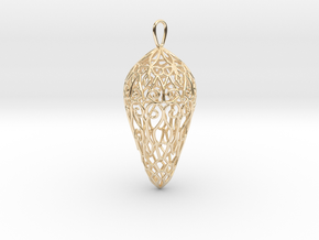 Small Lace Teardrop Ornament in 14k Gold Plated Brass