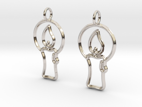 Christmas candle earrings in Rhodium Plated Brass