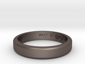 Engraved Standard Sized ring in Polished Bronzed Silver Steel