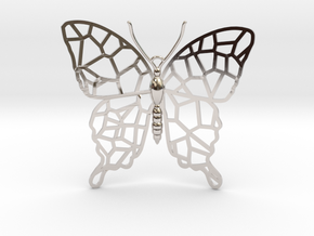 Butterfly Voroni Pendant in Rhodium Plated Brass
