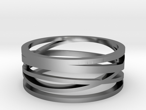Abstract Lines Ring - US Size 11 in Fine Detail Polished Silver