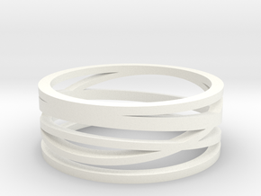 Abstract Lines Ring - US Size 11 in White Processed Versatile Plastic