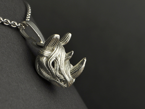 Rhino Pendant - Head  in Polished Silver