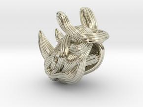 Rhino Pendant - Head  in 14k White Gold
