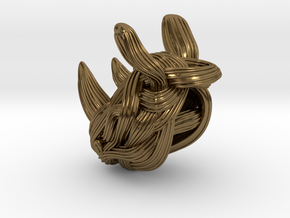 Rhino Pendant - Head  in Polished Bronze
