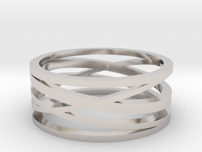 Abstract Lines Ring - US Size 10 in Platinum