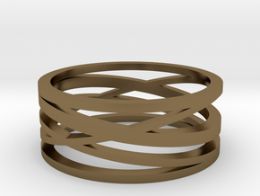 Abstract Lines Ring - US Size 10 in Polished Bronze