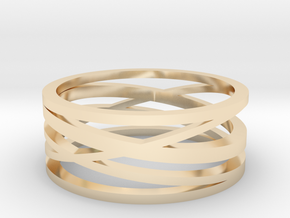 Abstract Lines Ring - US Size 10 in 14k Gold Plated Brass