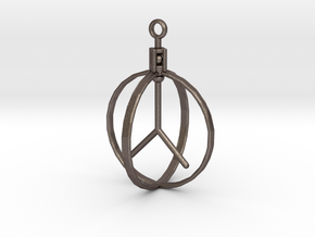 Peace Pendant (Spinning center) in Polished Bronzed Silver Steel