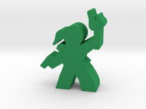 Game Piece, Lady Adventurer, with gun, torch in Green Processed Versatile Plastic