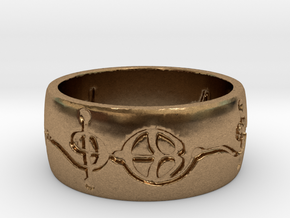 """Ashayam"" Vulcan Script Ring - Engraved Style in Natural Brass: 6 / 51.5"