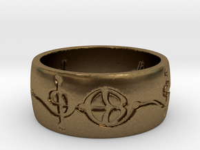 """Ashayam"" Vulcan Script Ring - Engraved Style in Natural Bronze: 6 / 51.5"