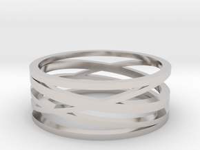 Abstract Lines Ring - US Size 12 in Rhodium Plated Brass