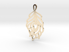 Peacock Feather Pendant in 14K Yellow Gold