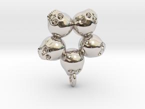 5skull pendant in Polished Bronzed Silver Steel