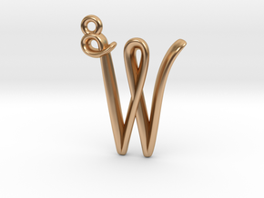 W Initial Charm in Polished Bronze